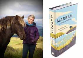 Leonie Charelton with pony, and her book Marram