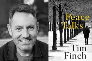 Tim Finch with the cover of his novel Peace Talks