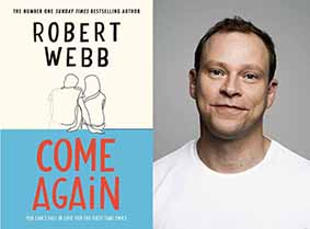 Robert Webb with the cover of his novel Come Again